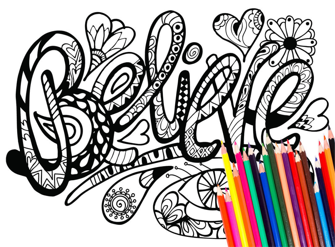 Coloring Pages: 42 Inspirational Words (Download)